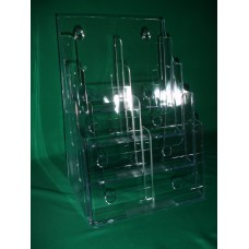 4 Tier Acrylic Countertop and Wall Mount Brochure Holder for 8.5x11 Literature